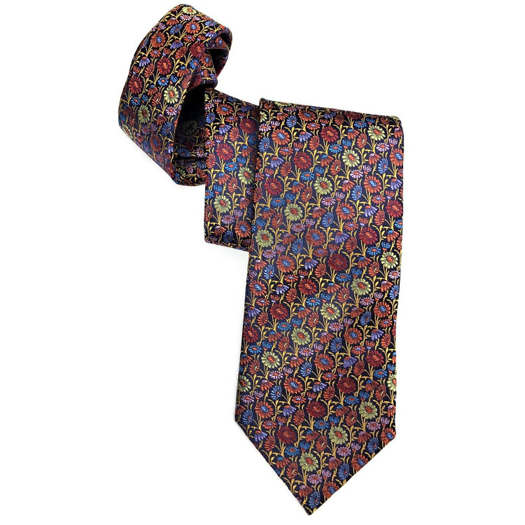 Spring 2017 Best of Class Orange, Butter, and Navy Floral 'Welch Margetson' Woven Silk Tie by Robert Talbott