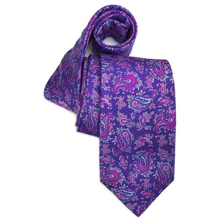 Spring 2017 Best of Class Purple and Pink Paisley 'Heritage' Woven Silk Tie by Robert Talbott