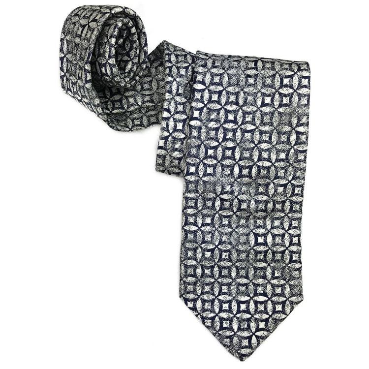 Spring 2017 Best of Class Navy, Cream, and Grey 'Venture' Woven Silk Tie by Robert Talbott