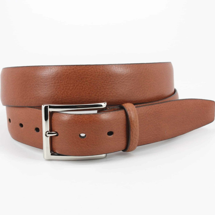 Italian Glazed Milled Calfskin Belt in Brandy (EXTENDED SIZES) by Torino Leather Co.