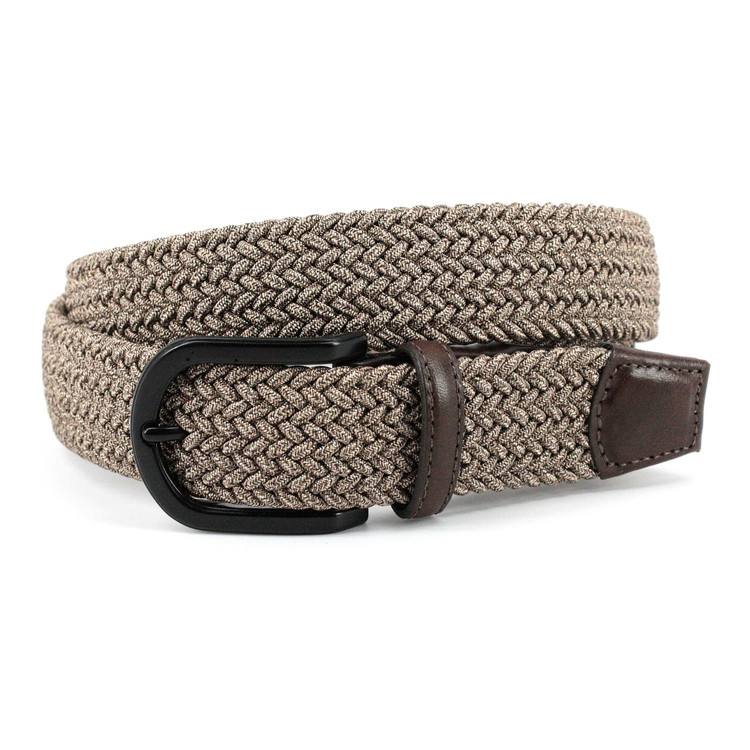 Italian Braided Melange Rayon Stretch Belt in Camel by Torino Leather Co.