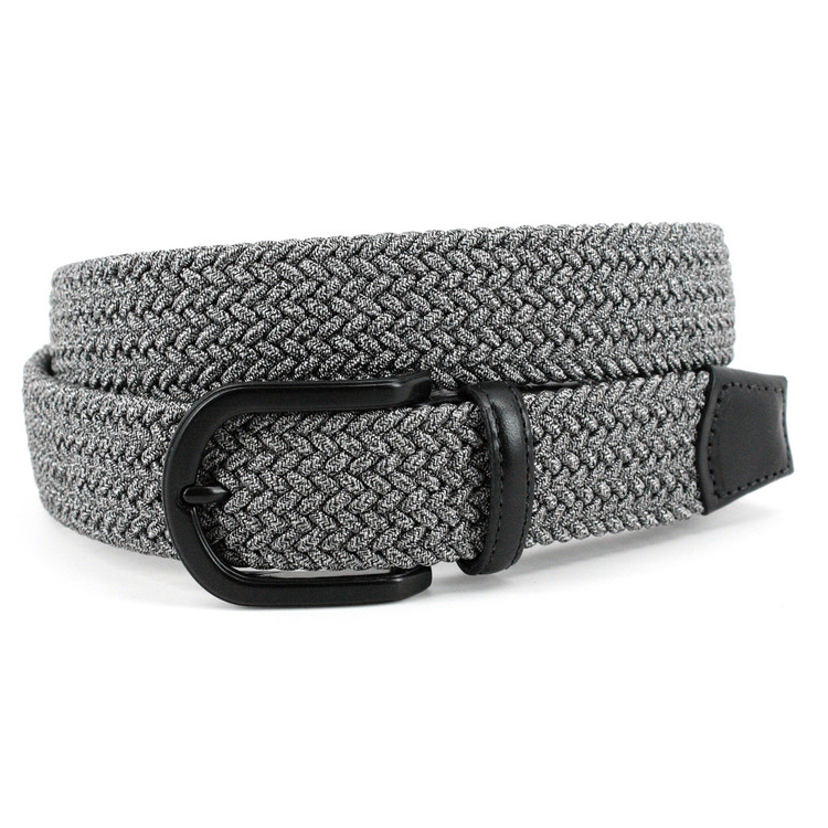 Italian Braided Melange Rayon Stretch Belt in Grey by Torino Leather Co.