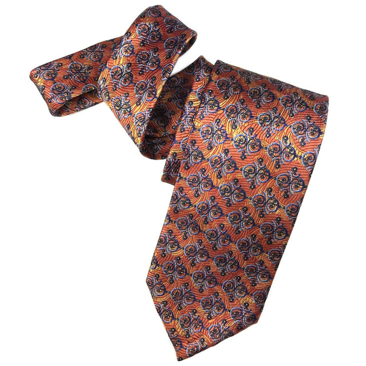 Spring 2017 Orange and Blue Swirl 'Yarn Dyed Overprint' Seven Fold Woven Silk Tie by Robert Talbott