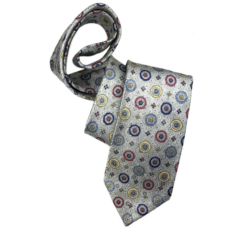 Spring 2017 Grey and Multi Medallion 'Yarn Dyed Overprint' Seven Fold Woven Silk Tie by Robert Talbott