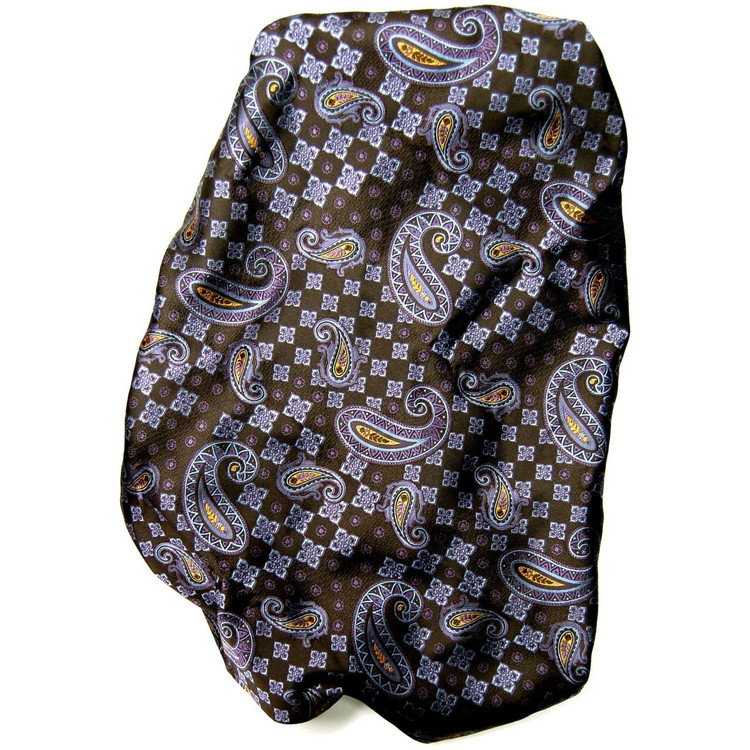 Custom Made Brown and Purple Paisley Seven Fold Woven Silk Tie by Robert Talbott