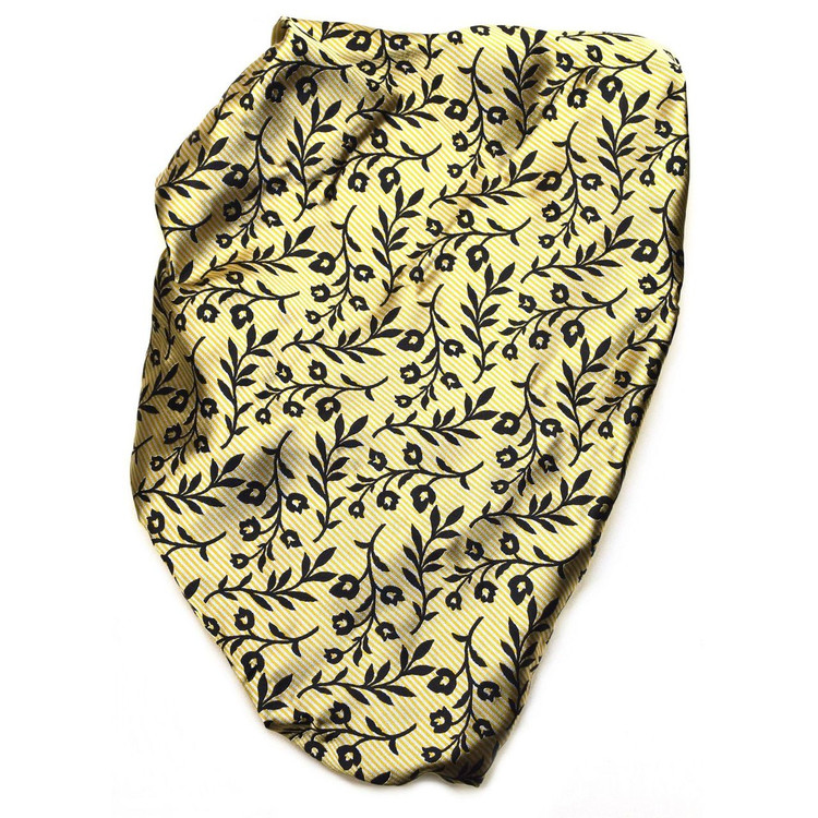 Custom Made Black and Yellow Floral Stripe Seven Fold Tie by Robert Talbott