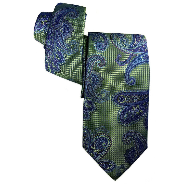 Spring 2017 Best of Class Green and Blue Paisley 'Heritage' Woven Silk Tie by Robert Talbott