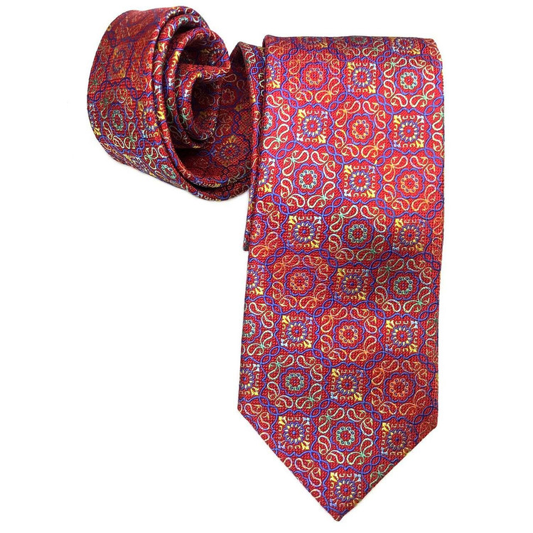 Spring 2017 Best of Class Red, Blue, and Multi Medallion 'Welch Margetson' Woven Silk Tie by Robert Talbott
