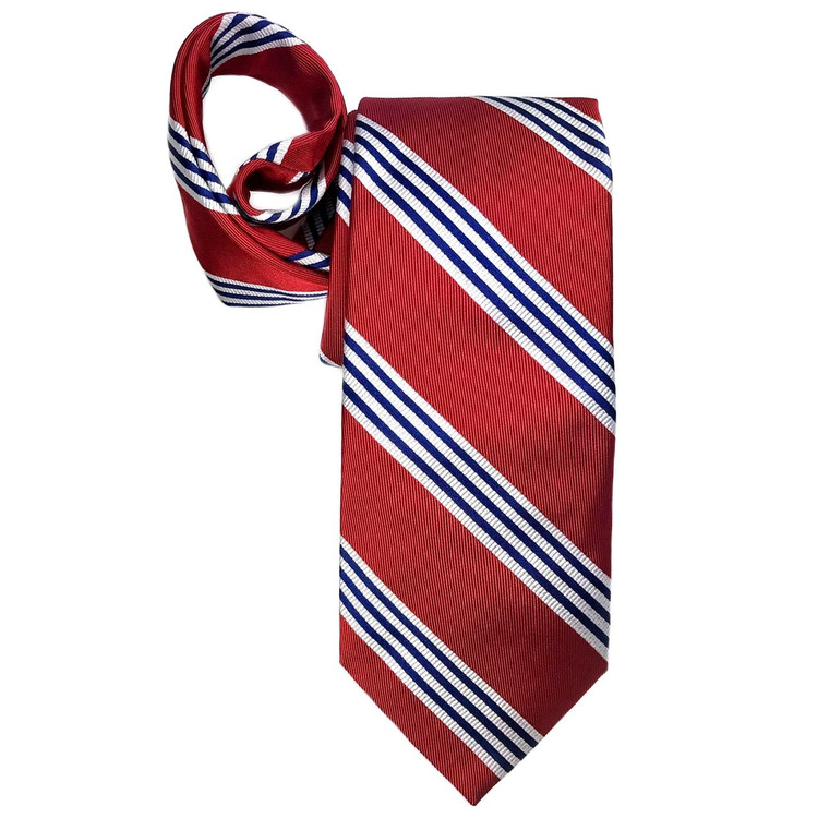 Spring 2017 Best of Class Red, Navy, and White Stripe 'Boardroom' Woven Silk Tie by Robert Talbott