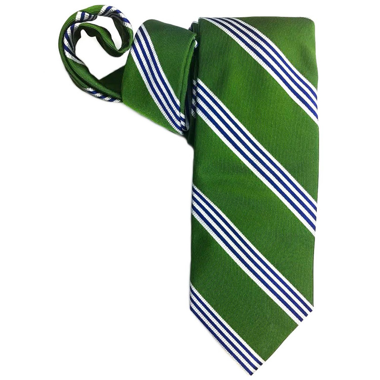 Spring 2017 Best of Class Green, Navy, and White Stripe 'Boardroom' Woven Silk Tie by Robert Talbott