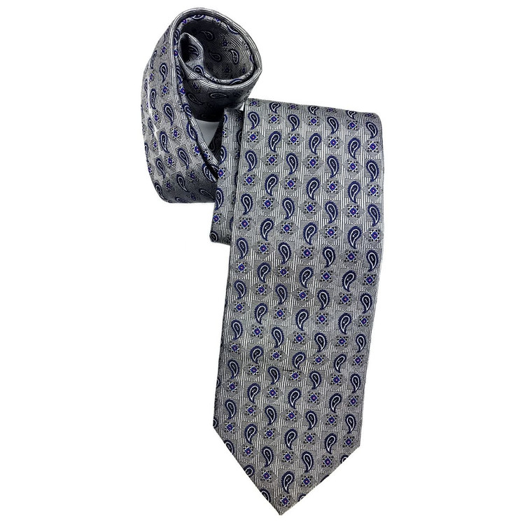 Best of Class Grey and Navy Neat Paisley 'Heritage' Woven Silk Tie by Robert Talbott