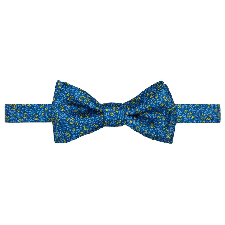 Best of Class Blue and Gold Mini Botanical 'Carmel Print' Hand Sewn Overprinted Silk Bow Tie by Robert Talbott