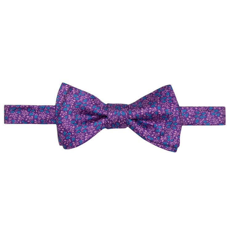Spring 2017 Best of Class Purple, Pink, and Blue Mini Botanical 'Carmel Print' Hand Sewn Overprinted Silk Bow Tie by Robert Talbott