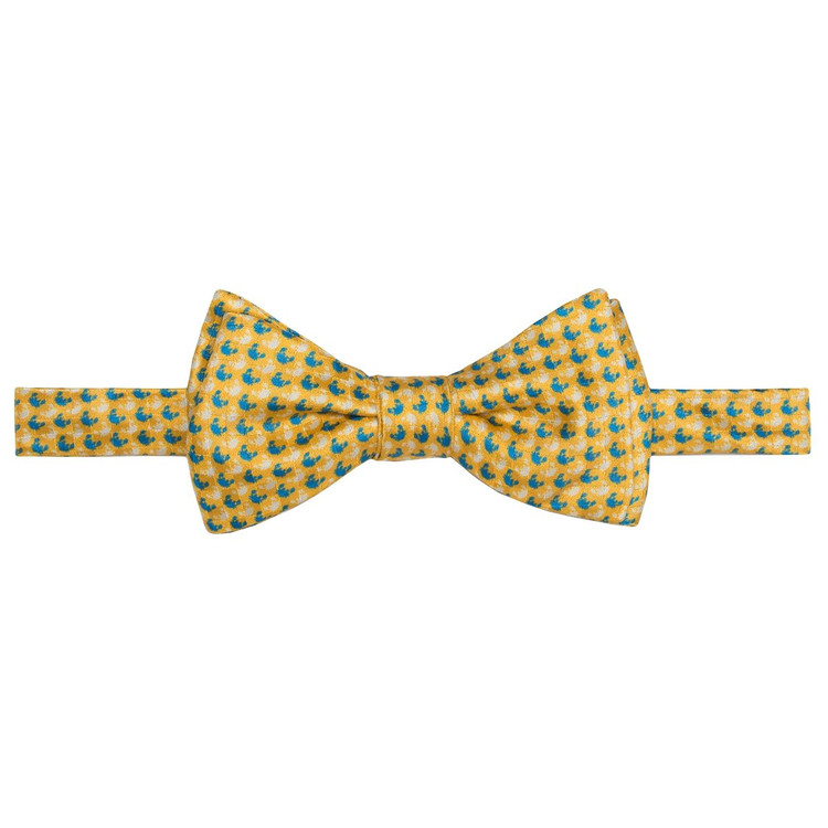 Best of Class Lemon and Blue Crab 'Carmel Print' Hand Sewn Overprinted Silk Bow Tie by Robert Talbott