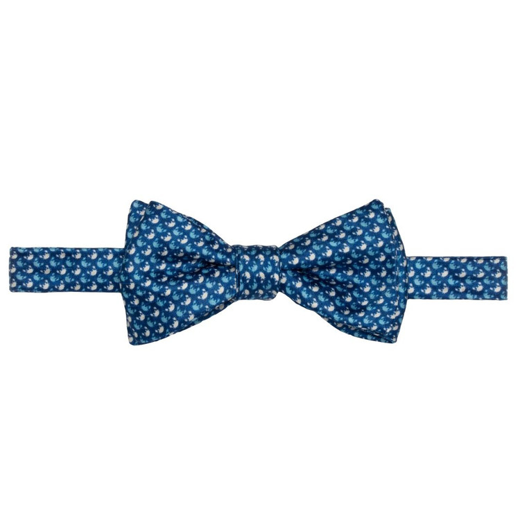 Best of Class Blue Crab 'Carmel Print' Hand Sewn Overprinted Silk Bow Tie by Robert Talbott
