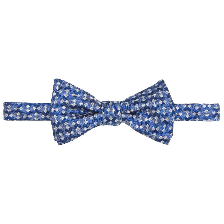 Best of Class Blue and Navy 'Geometric' Hand Sewn Woven Silk Bow Tie by Robert Talbott