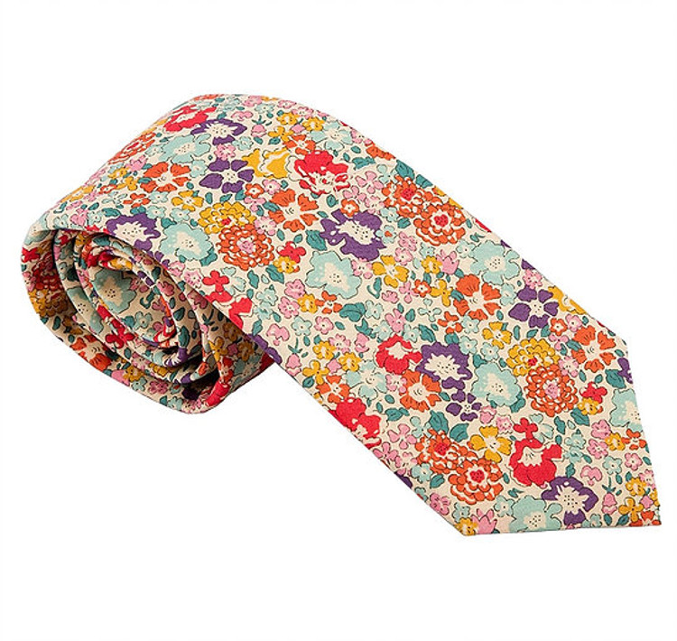 'Suffolk' Multi Floral Lawn Cotton Tie by Trumbull Rhodes