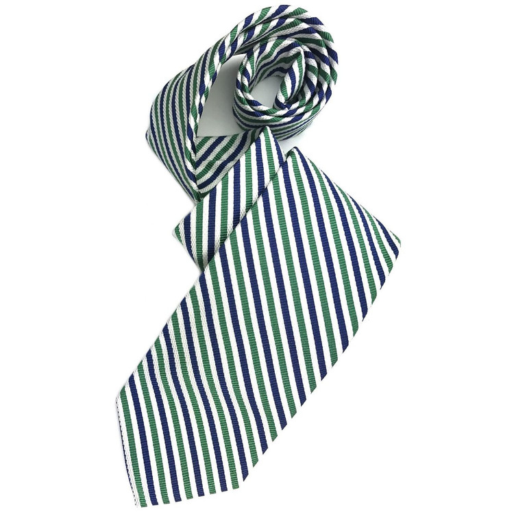 Spring 2017 Best of Class Navy, Green, and White Stripe 'Academy' Woven Silk Tie by Robert Talbott