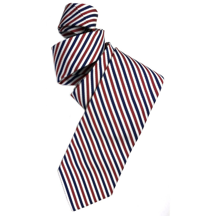 Spring 2017 Best of Class Navy, Red, and White Stripe 'Academy' Woven Silk Tie by Robert Talbott