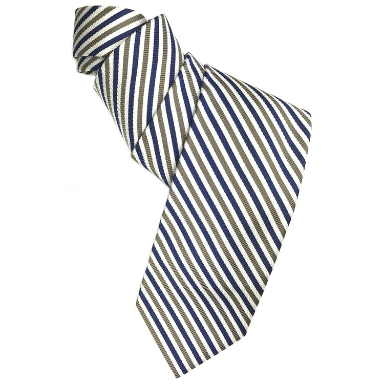 Spring 2017 Best of Class Navy, Taupe, and White Stripe 'Academy' Woven Silk Tie by Robert Talbott