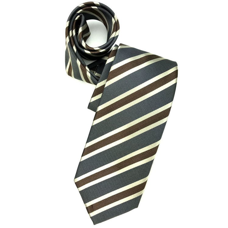 Grey, Brown, and Cream Mogador Stripe Woven Silk Tie by Robert Jensen