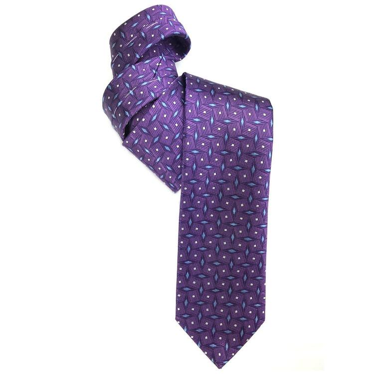 Purple and Blue Geometric Woven Silk Tie by Robert Jensen