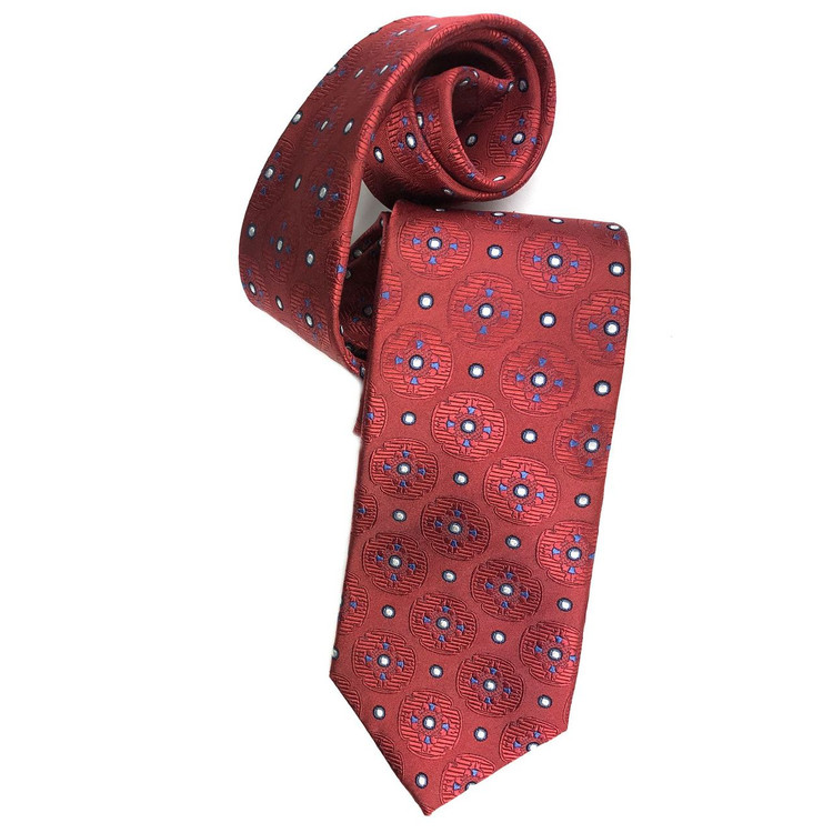 Red and Blue Geometric Medallion Woven Silk Tie by Robert Jensen