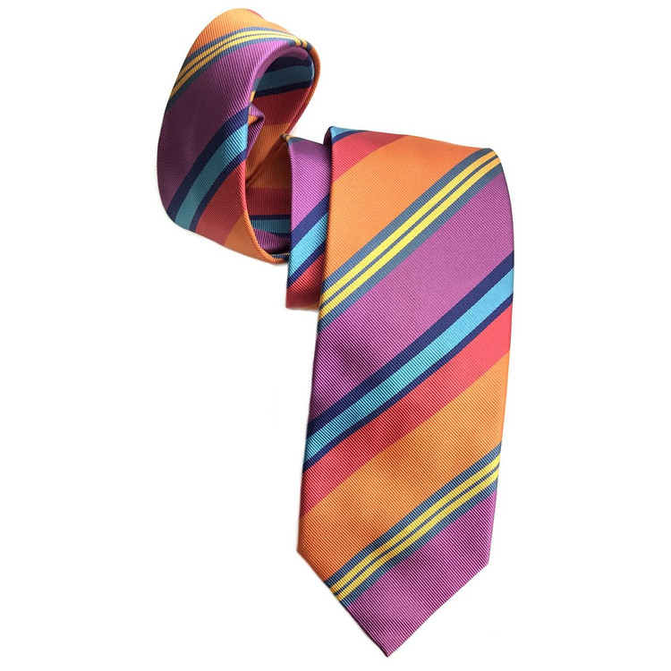 Lilac, Orange, and Coral Silk Faille Repp Tie by Robert Jensen