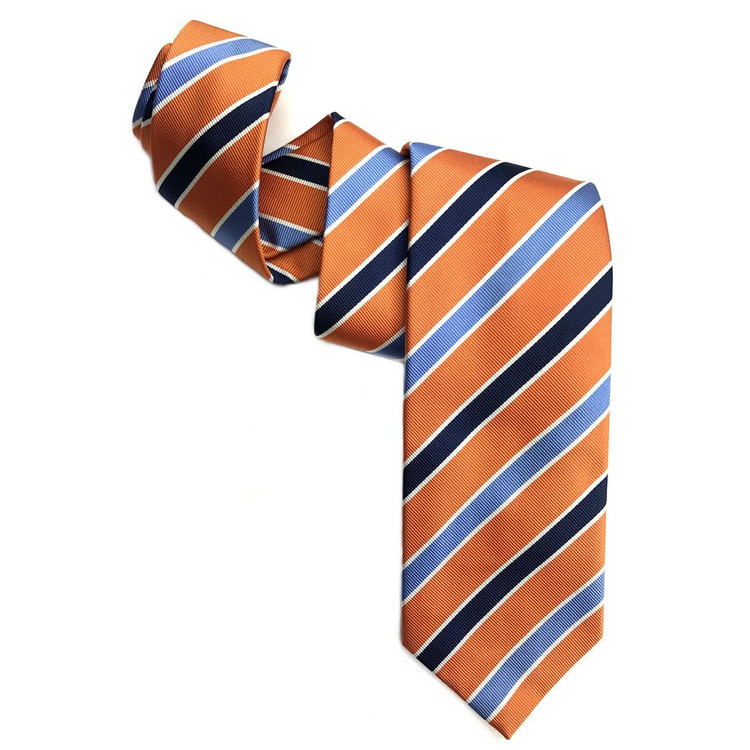 Orange, Blue, and Navy Silk Faille Repp Tie by Robert Jensen