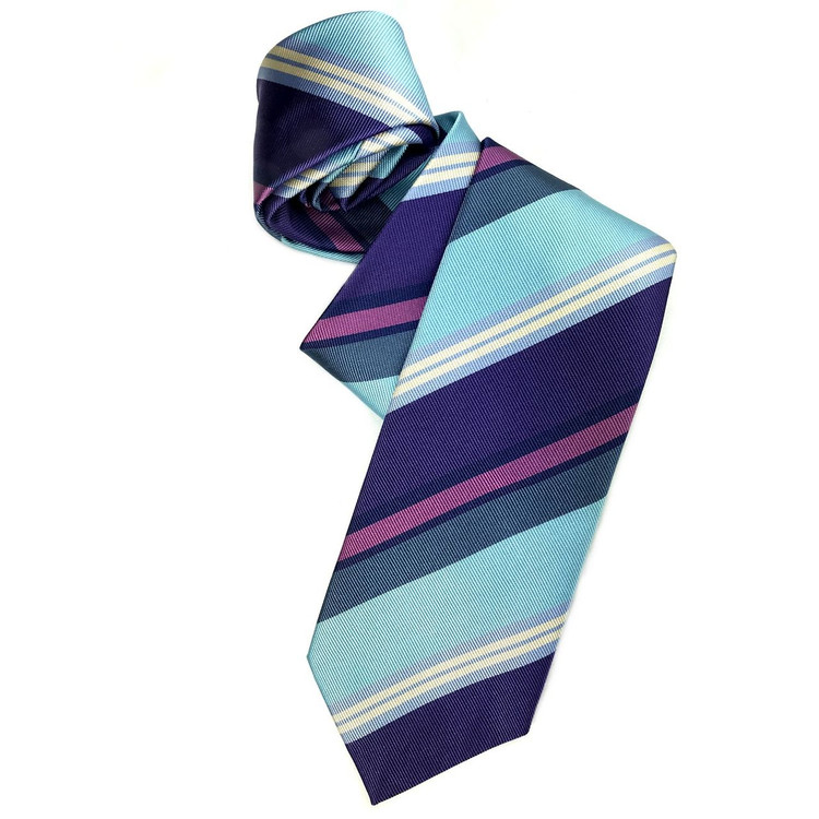 Aqua, Purple, and Blue Silk Faille Repp Tie by Robert Jensen