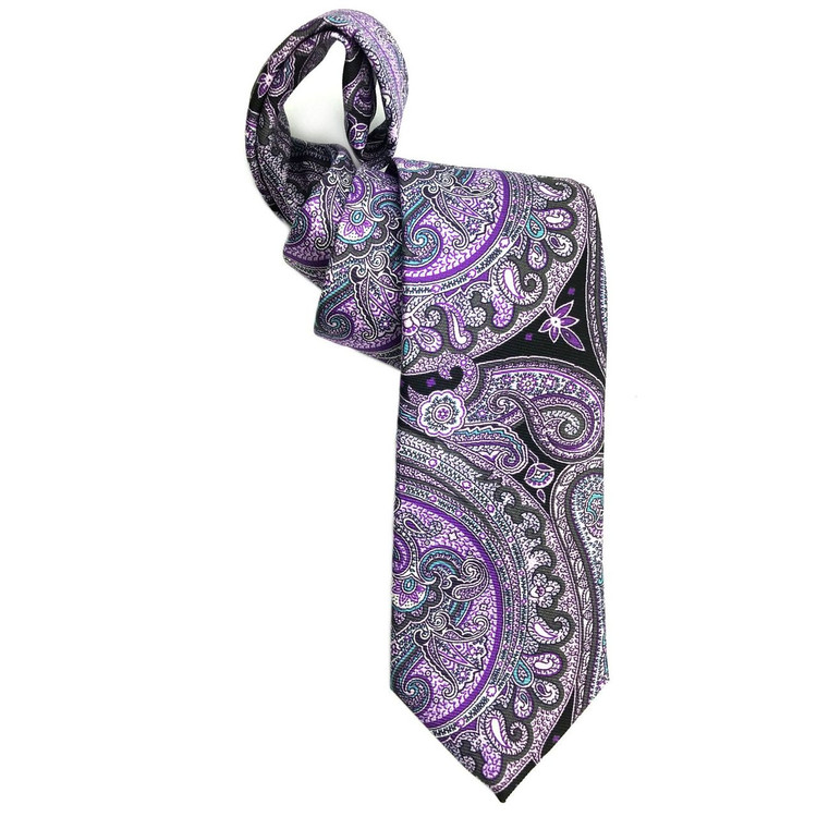 Purple and Black Paisley Printed Silk Tie by Robert Jensen