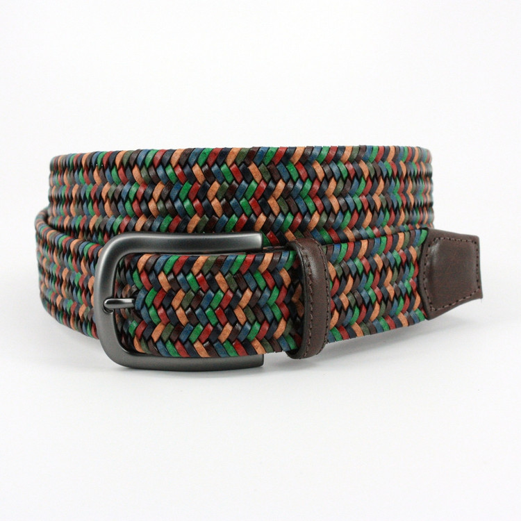 Italian Mini Strand Woven Stretch Leather Belt in Navy, Red, Tan & Green by Torino Leather Co.