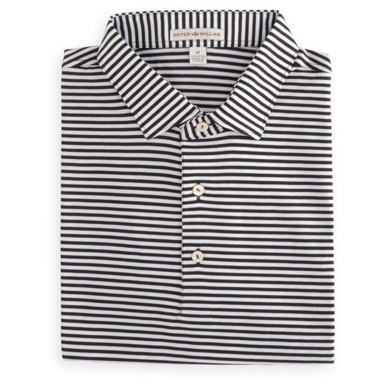 Classic Stripe Lisle Polo with Sean Collar in Black and White by Peter Millar