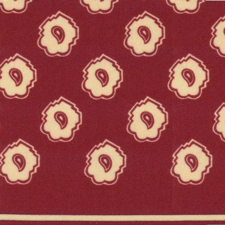 Neat Paisley Silk Pocket Square in Ruby and Cream by Robert Talbott