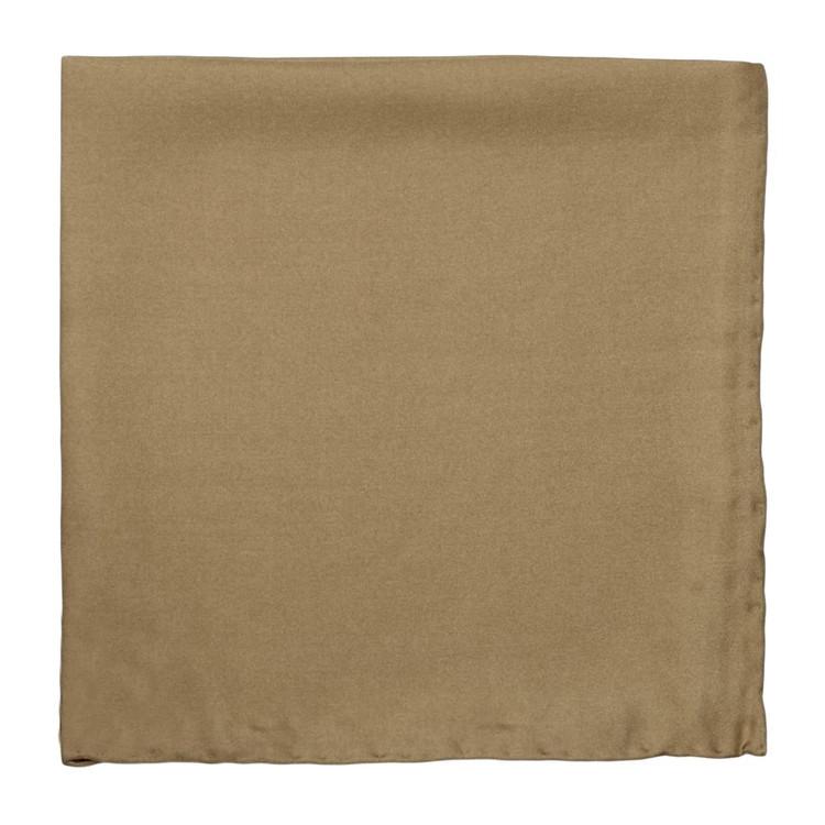 Solid Silk Pocket Square in Camel by Robert Talbott