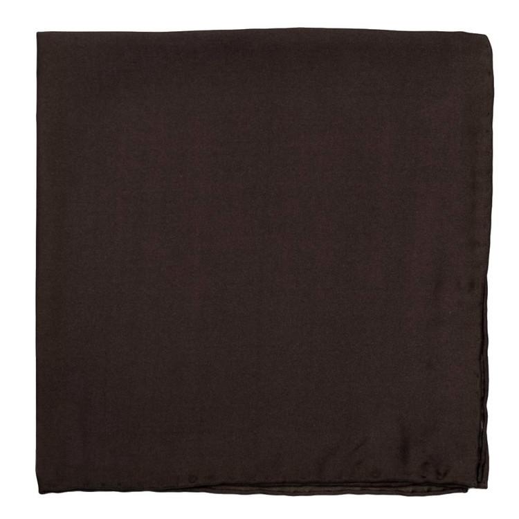 Solid Silk Pocket Square in Dark Brown by Robert Talbott