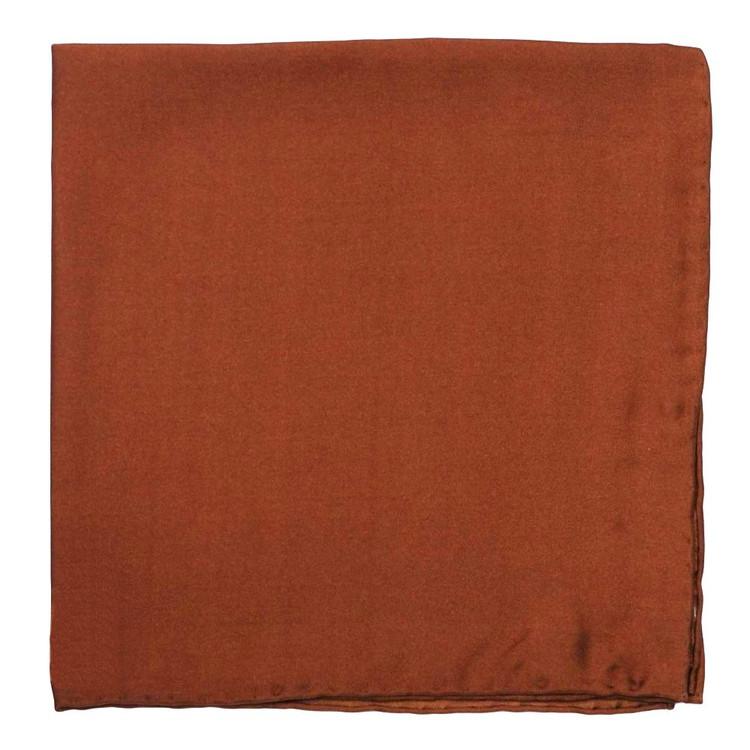 Solid Silk Pocket Square in Rust by Robert Talbott