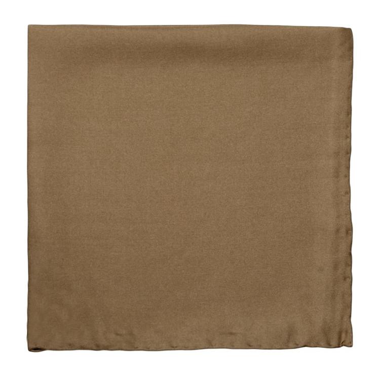 Solid Silk Pocket Square in Tan by Robert Talbott