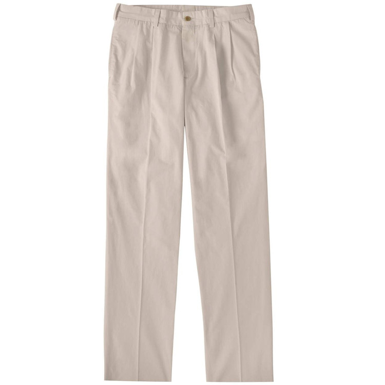 Tropical Poplin Pant - Model M2P Standard Fit Reverse Pleat in Sand by Bills Khakis
