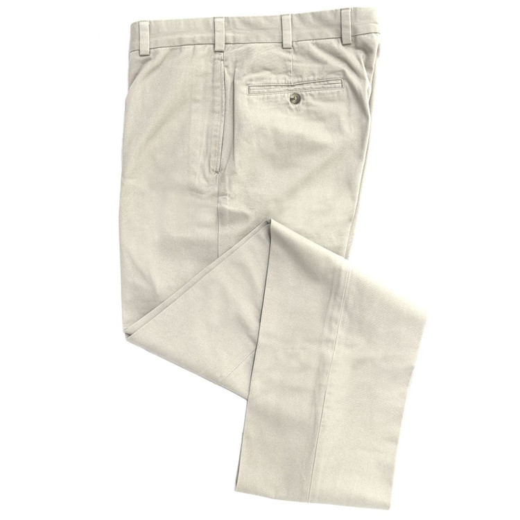 Travelers Twill Pant - Model F2 Standard Fit Plain Front in Stone by Hansen's Khakis