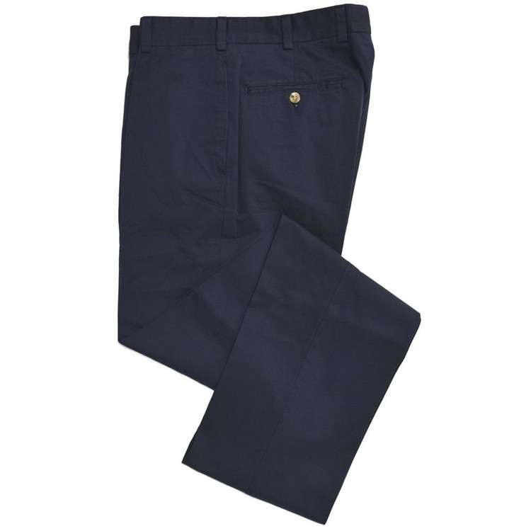 Travelers Twill Pant - Model F2 Standard Fit Plain Front in Navy by Hansen's Khakis