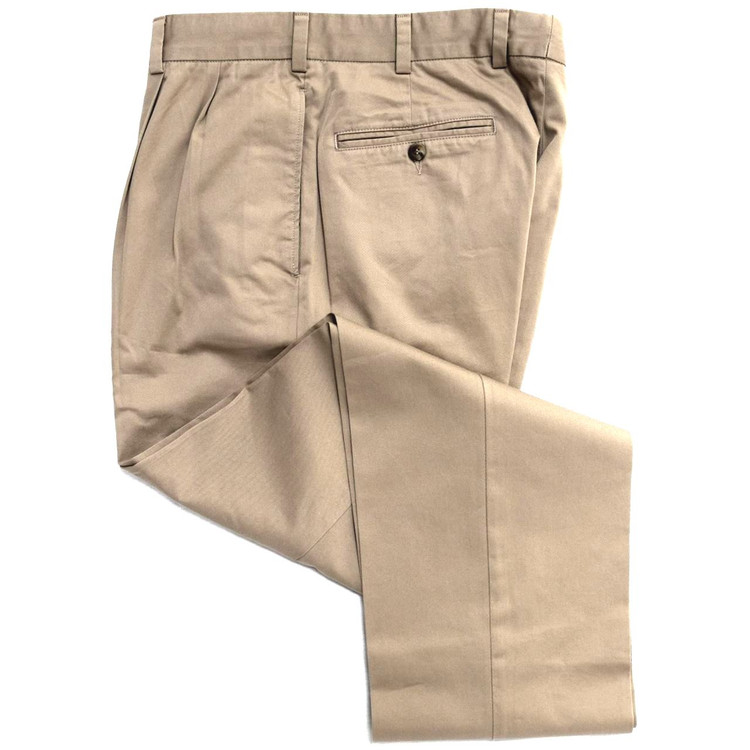 Travelers Twill Pant - Model F2P Standard Fit Reverse Pleat in Fawn by Hansen's Khakis