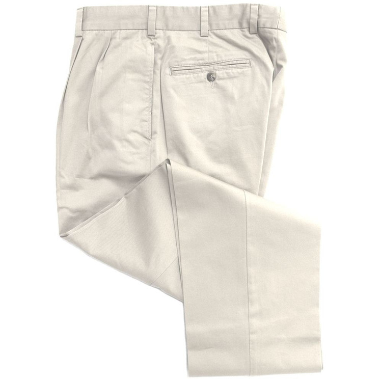 Travelers Twill Pant - Model F2P Standard Fit Reverse Pleat in Stone (Size 38 Only) by Hansen's Khakis