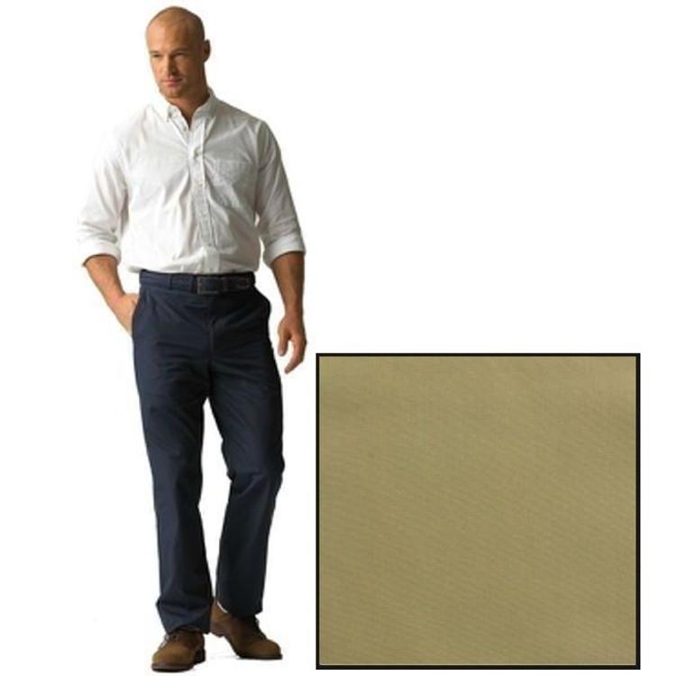 'Stover' Flat Front Prime Poplin Trousers in Khaki (Size 40) by Corbin
