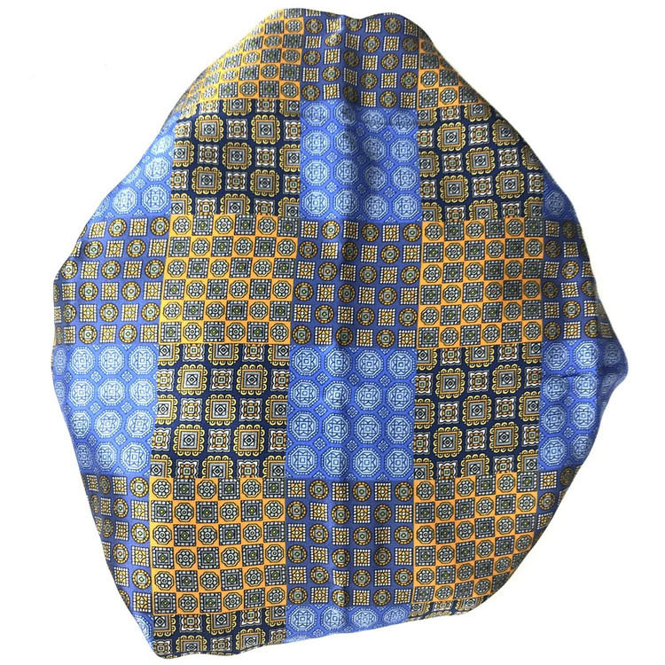 Custom Made Blue, Gold, and Navy Patchwork Best of Class Printed Silk Tie by Robert Talbott