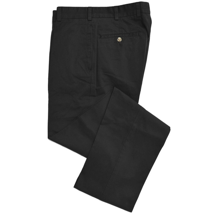 Travelers Twill Pant - Model F2 Standard Fit Plain Front in Black by Hansen's Khakis