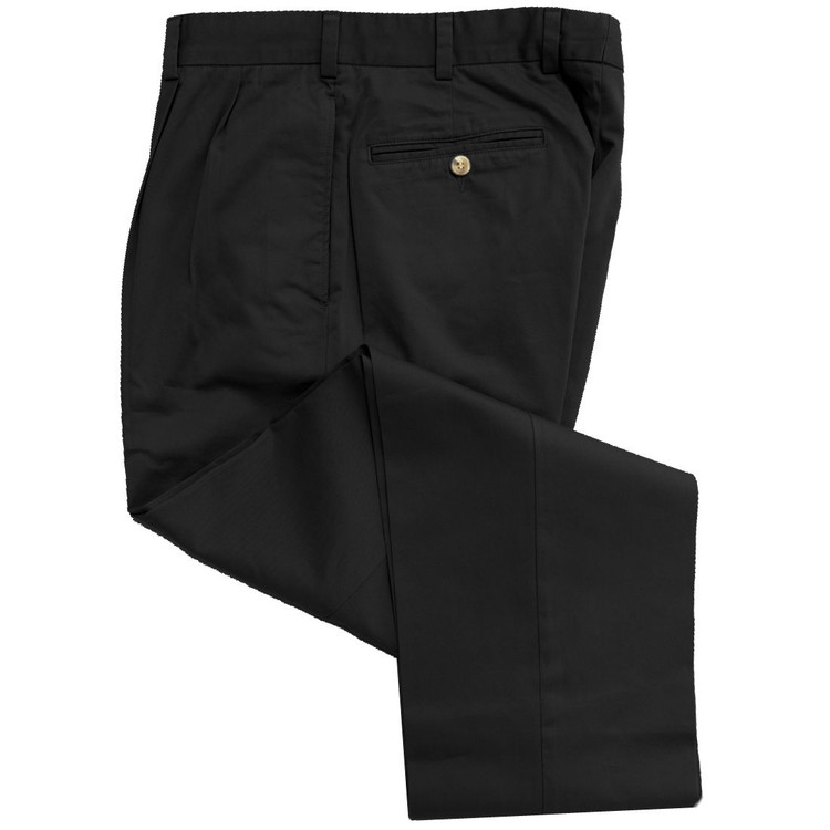 Travelers Twill Pant - Model F2P Standard Fit Reverse Pleat in Black by Hansen's Khakis