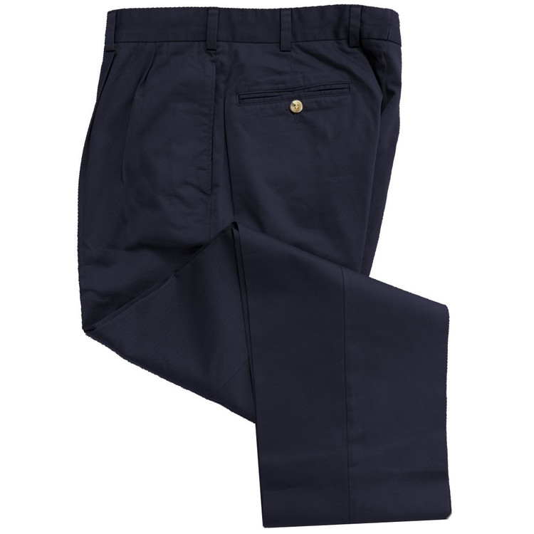 Travelers Twill Pant - Model F2P Standard Fit Reverse Pleat in Navy by Hansen's Khakis