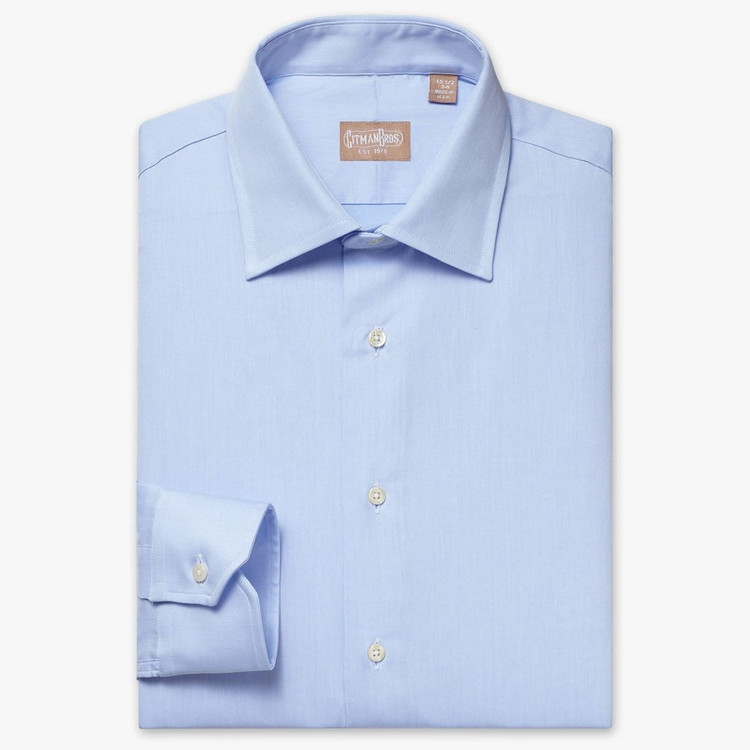 Mini Twill Dress Shirt with Medium  Spread Collar in Blue (Tailored Fit) by Gitman Brothers