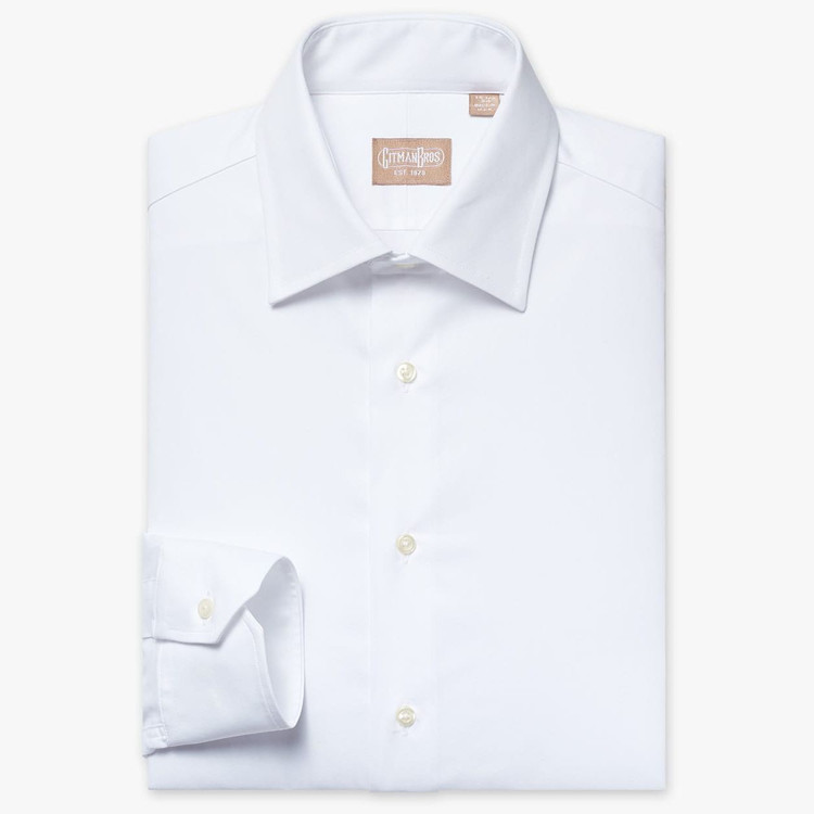 Mini Twill Dress Shirt with Medium Spread Collar in White (Tailored Fit) by Gitman Brothers